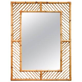 Monumental Bamboo Mirror With Geometrical Fretwork