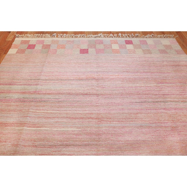 1940s Vintage Scandinavian Art Deco Flat Carpet - 7′3″ × 10′8″ For Sale - Image 5 of 10