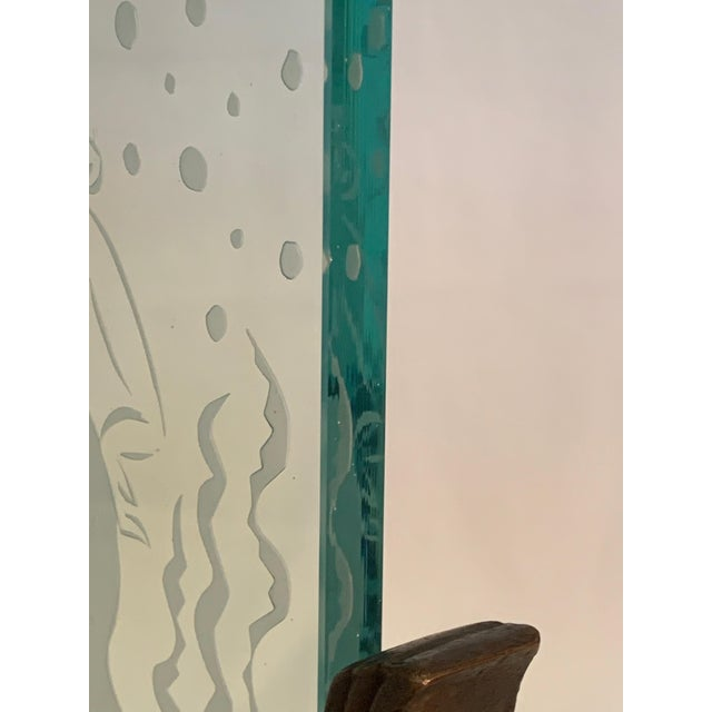 1920s Art Deco Glass Panel on Bronze Base For Sale - Image 10 of 13