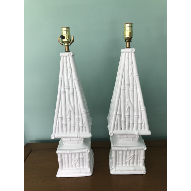 20th Century Hollywood Regency Ceramic Bamboo Obelisk Lamps - a Pair For Sale - Image 4 of 7