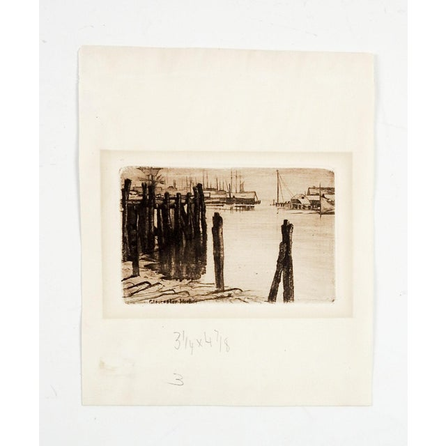 Tiny Etching of Glouchester Harbor - Image 3 of 3