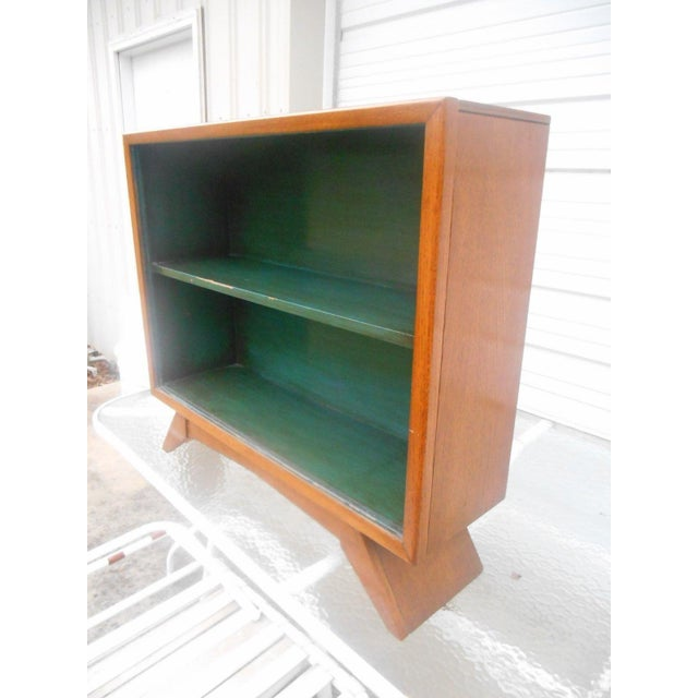 1930's Art Deco Petite Sliding Glass Door Bookcase For Sale - Image 4 of 8