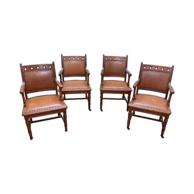 Antique Victorian Oak Dining Chairs - Set of 4 - Image 1 of 10
