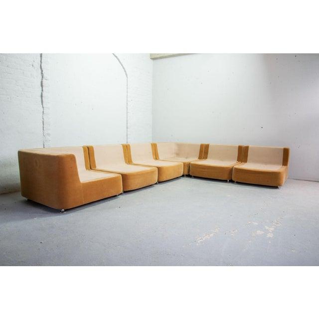 Mid-Century Design Peach Velvet Modular Lounge Sofaset, 6 Elements, Dreipunkt, Germany, 1970s For Sale - Image 9 of 11