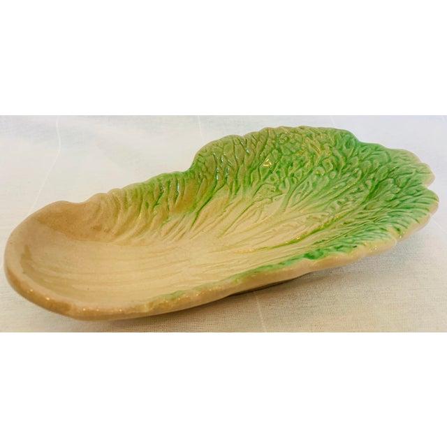 Majolica Vintage Majolica Cabbage Leaf Celery Dish For Sale - Image 4 of 4