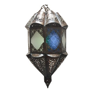Moroccan Handcrafted Moorish Pendant Glass Lantern For Sale