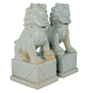 Chinese Celadon Ceramic Guardian Lions - A Pair