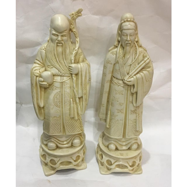Vintage Chinese Old Scholars Figures - a Pair For Sale - Image 13 of 13