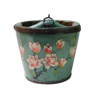 Chinese Flowers Painted Wood Bucket For Sale