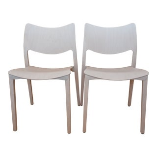 Modern Design Within Reach Laclasica White Dining Chairs - a Pair
