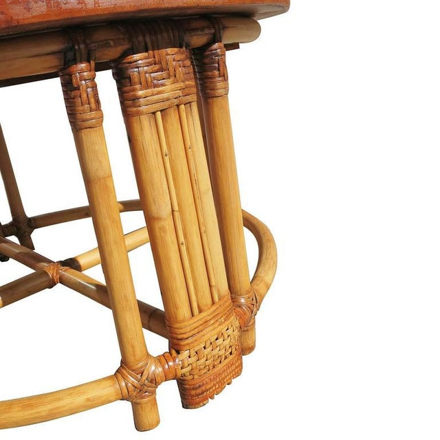 Restored Round Rattan Coffee Table With Mahogany Top and Fancy Wrapping - Image 4 of 5