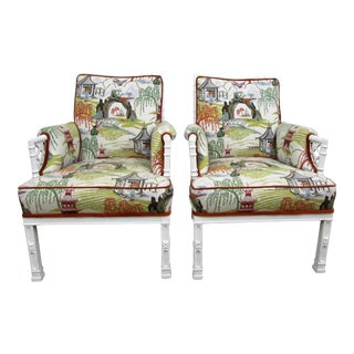 Toile Chinoiserie & Faux Bamboo Arm Chairs - A Pair For Sale