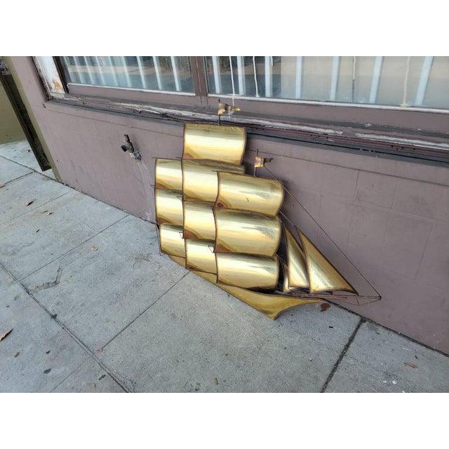 1970s Vintage Brass Ship Sculpture For Sale - Image 9 of 13