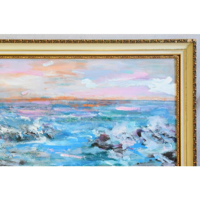 Juan Guzman Ventura California Crashing Ocean Waves Oil Painting For Sale - Image 4 of 10