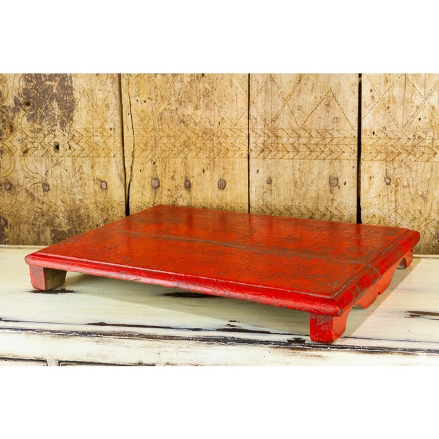 Rasila Red Wooden Bajot Table For Sale - Image 4 of 7