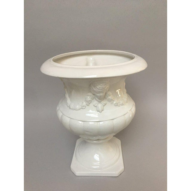 Very Large White Neoclassical Ceramic Urn Planter For Sale - Image 9 of 10