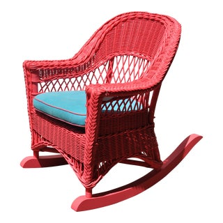 1990s Americana Blue Cushion Hot Pink Rocking Chair For Sale