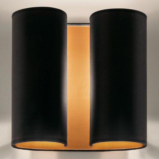 Mid-Century Modern Brushed Copper Wall Sconce With Satin Black For Sale - Image 3 of 4