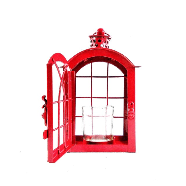 Metal Red Metal Votive Candle Lantern For Sale - Image 7 of 10