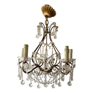 French Crystal Beaded Chandelier For Sale