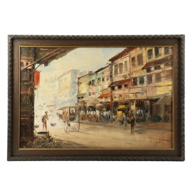 Asian Manila Street Scene Painting by Eddie Sarmiento For Sale - Image 3 of 3