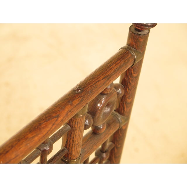 Antique Victorian Stick & Ball Oak Firescreen Frame For Sale - Image 5 of 8