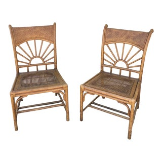 Handmade Rattan Cane Chairs by Lexington - a Pair For Sale