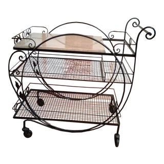 Wrought Iron & Marble Bar Cart