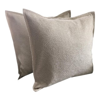 Light Green Cut Velvet Pillows - A Pair For Sale