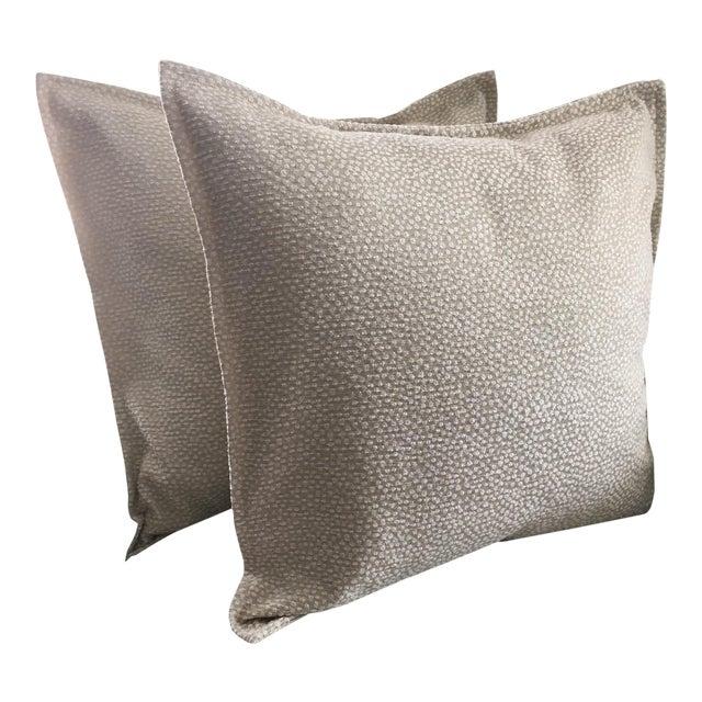 Light Green Cut Velvet Pillows - A Pair For Sale