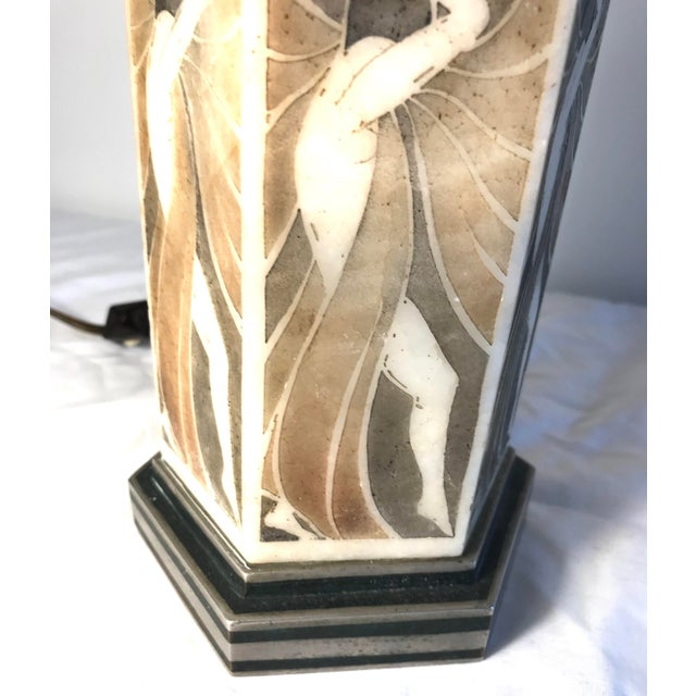 1930s French Art Deco Bronze and Alabaster Table Lamp For Sale - Image 5 of 9
