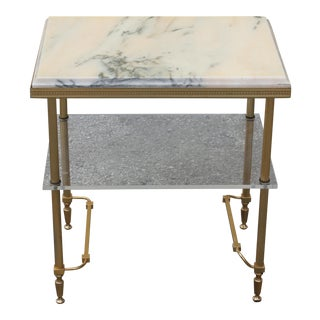 Beautiful Maison Jansen Coffee Or Side Table Bronze With Onyx Top And Lucite Shelf Circa 1940s
