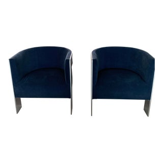 Bernhardt Cosway Navy Chairs - A Pair For Sale