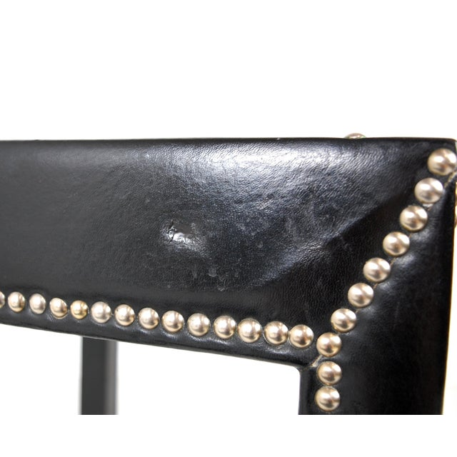 Black Vintage Mid-Century Italian Leather Studded Side Tables - A Pair For Sale - Image 8 of 9