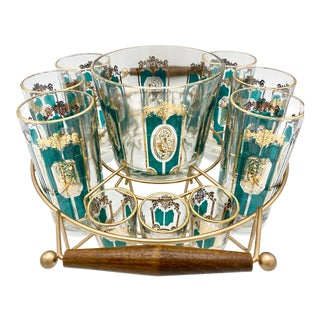 Mid Century Green and Gold Cocktail Set With Caddy - 14 Pieces For Sale