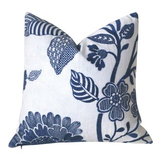 Schumacher Elspeth Navy & White Pillow Cover 16x16 For Sale
