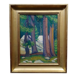 Edith Anne Hamlin -1930s Taos Wooded Landscape -Oil Painting For Sale