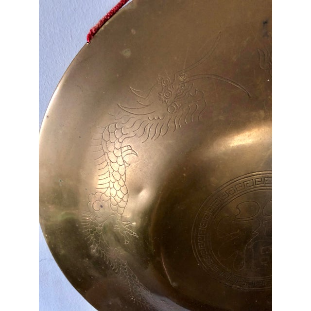 Vintage Chinese Brass Dragon Gong For Sale - Image 4 of 7