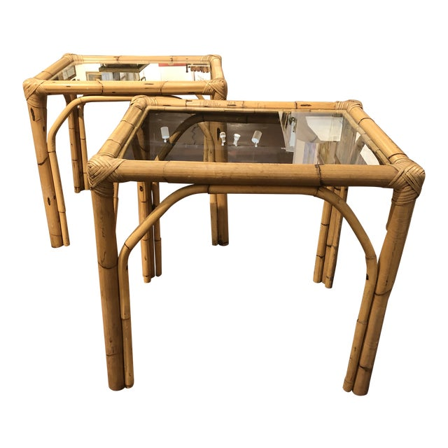 Glass Top Bamboo Side Tables - a Pair For Sale