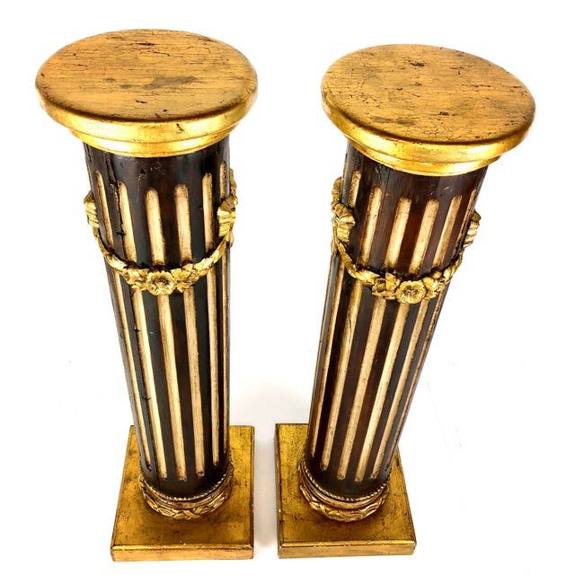 French Mid 19th Century Antique French Louis XVI Style Giltwood Pedestals / Columns - A Pair For Sale - Image 3 of 11