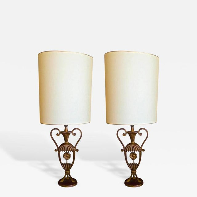 Art Deco Maison Bagues Rare Pair of Gold Leaf Cast Iron Charming Little Pair of Lamps For Sale - Image 3 of 3