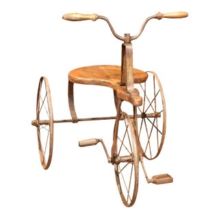 19th Century French Iron & Wood Tricycle For Sale