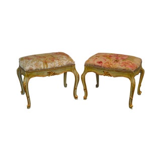 French Louis XV Style Green & Gold Painted Rose Tapestry Seat Pair of Stools or Benches For Sale