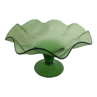 1960s Mid-Century Modern Green Clear Glass Ruffled Pedestal Bowl