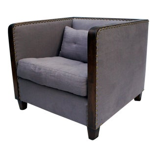 Van Thiel & Co Lavender Linen Down Filled Studded Trim Club Lounge Chair For Sale