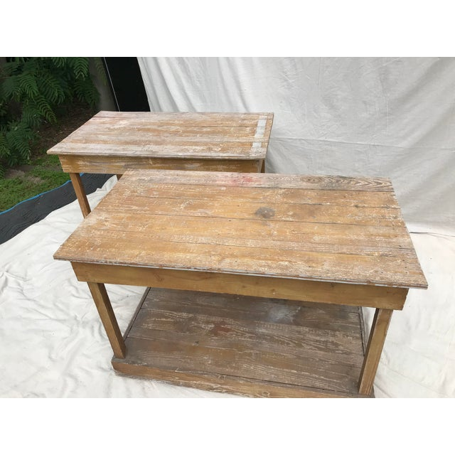 Folk Art Antique Southern Primitive Work Tables - a Pair For Sale - Image 3 of 13