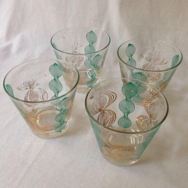 Vintage Gilt and Blue Bar Glasses For Sale - Image 4 of 5