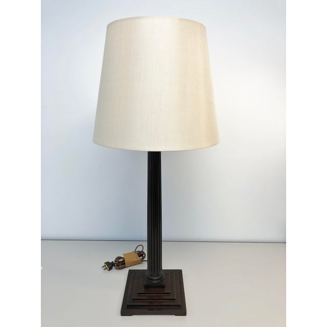 Brown Traditional Lee Stanton Mahogany Roman Column Table Lamp With Cream Shade For Sale - Image 8 of 8
