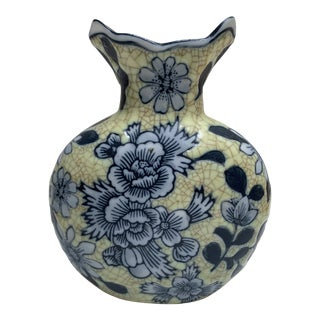 Rustic Stoneware Pottery Crackle Vase For Sale