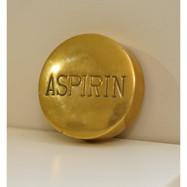 Hollywood Regency Vintage Aspirin Brass Pill Box For Sale - Image 3 of 5